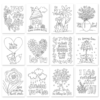 Simon Says Stamp SUZY'S TAKE MY HEART WATERCOLOR DOODLES Paintable Prints SWTH12 Hey Love