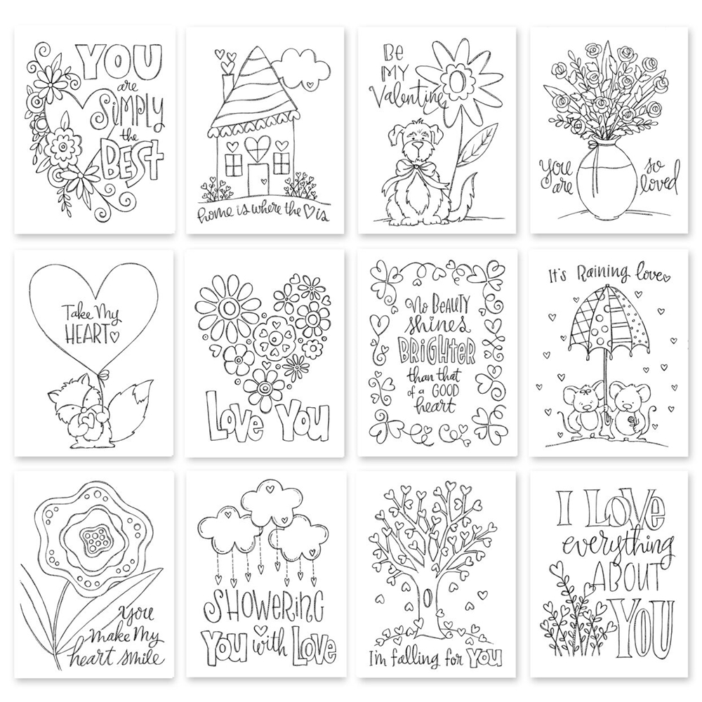 Simon Says Stamp SUZY'S TAKE MY HEART WATERCOLOR DOODLES Prints SWTH12 Hey Love zoom image
