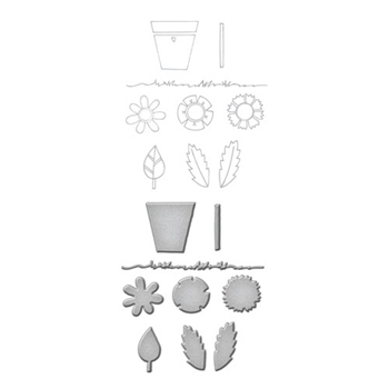 SDS-035 Spellbinders Tammy Tutterow POSIE PARTS Cling Stamp and Die Set*