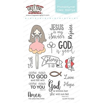 The Greeting Farm GLORY BE TO GOD Clear Stamps TGF286