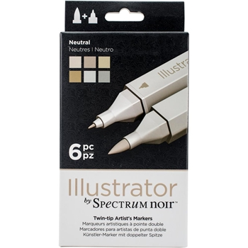 Crafter's Companion NEUTRAL Illustrator Spectrum Noir Markers SPECNIL6NEU