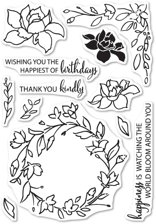 Memory Box Clear Stamps WATCHING THE WORLD BLOOM Open Studio CL5197 zoom image