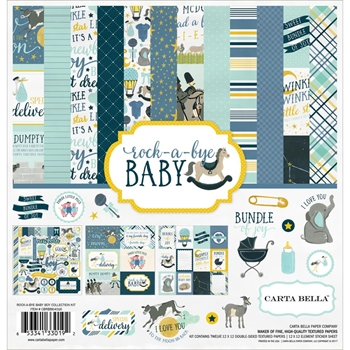 Carta Bella ROCK A BYE BABY BOY 12 x 12 Collection Kit CBRBB64016