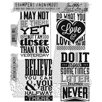 RESERVE Tim Holtz Cling Rubber Stamps 2017 MOTIVATION 3 CMS291