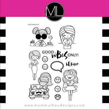 Mommy Lhey GOOD VIBES Clear Stamp Set MLD167