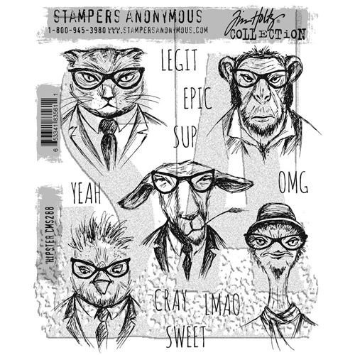Tim Holtz Hipster Cling Stamp Set