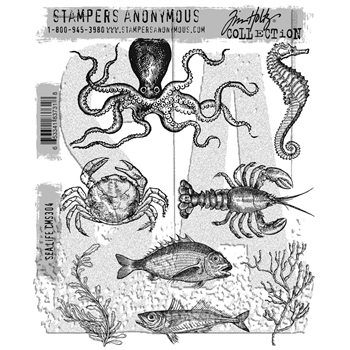 Tim Holtz Cling Rubber Stamps 2017 SEA LIFE CMS304