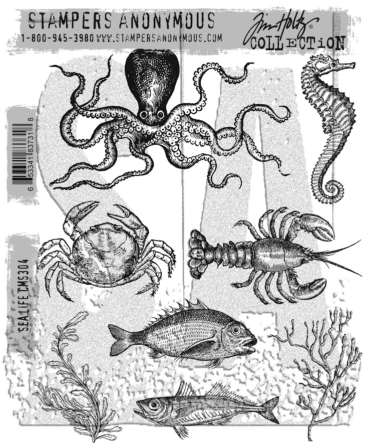 Tim Holtz Cling Rubber Stamps 2017 SEA LIFE CMS304 zoom image