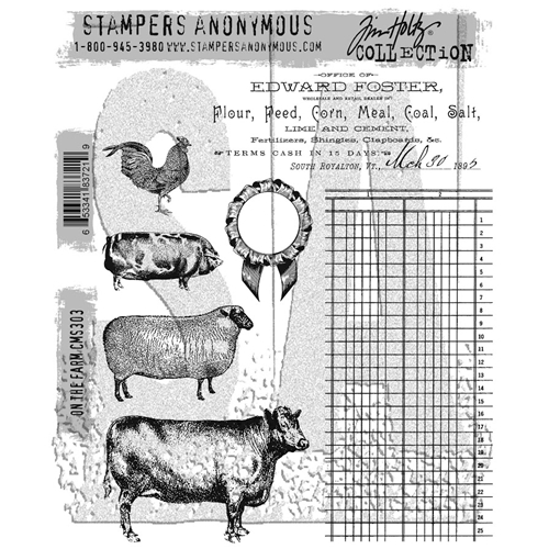 Tim Holtz Cling Rubber Stamps ON THE FARM CMS303 Preview Image