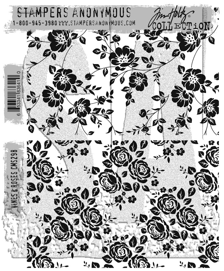 Tim Holtz Cling Rubber Stamps 2017 VINES AND ROSES CMS298 zoom image