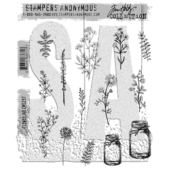Tim Holtz Cling Rubber Stamps 2017 FLOWER JAR CMS297