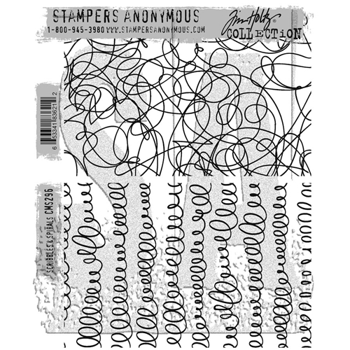 Tim Holtz Cling Rubber Stamps 2017 SCRIBBLES AND SPIRALS CMS296 Preview Image
