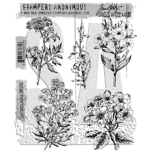 Tim Holtz Cling Rubber Stamps ILLUSTRATED GARDEN CMS295 Preview Image