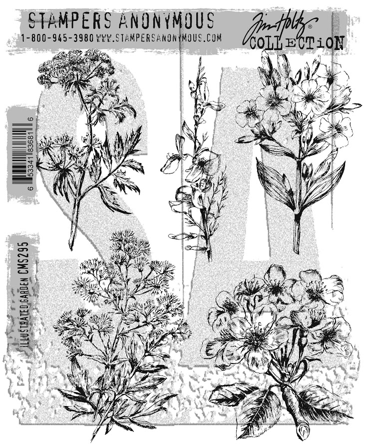 Tim Holtz Cling Rubber Stamps 2017 ILLUSTRATED GARDEN CMS295 zoom image