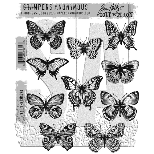 Tim Holtz Cling Rubber Stamps 2017 FLUTTER CMS294 Preview Image