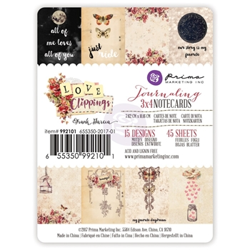 Prima Marketing LOVE CLIPPINGS 3 X 4 Journaling Notecards 992101
