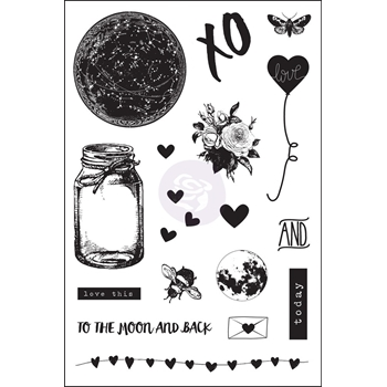Prima Marketing LOVE CLIPPINGS Cling Stamp Set 992125*