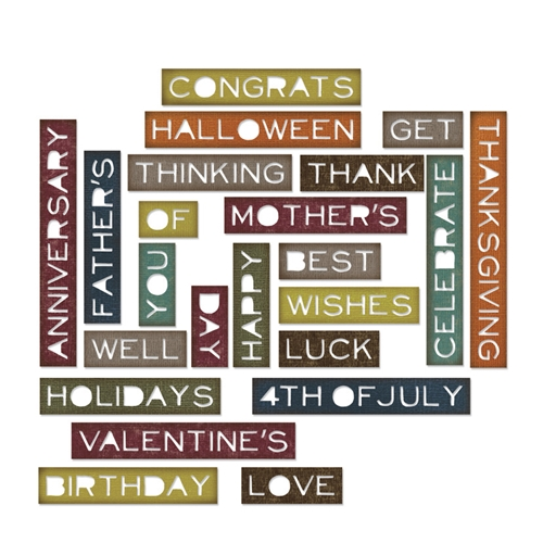 Tim Holtz Sizzix SENTIMENT WORDS THIN Thinlits Die 661807 Preview Image