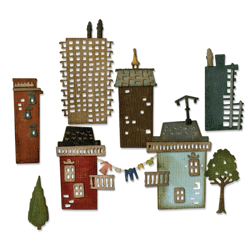Tim Holtz Sizzix CITYSCAPE SUBURBIA Thinlits Die 661811 zoom image