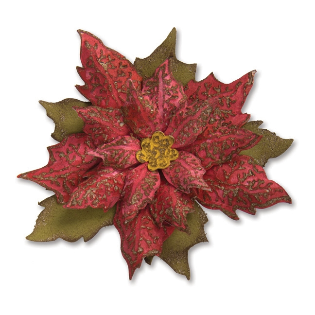 RESERVE Tim Holtz Sizzix LAYERED TATTERED POINSETTIA Bigz Die With Texture Fades 662170 zoom image