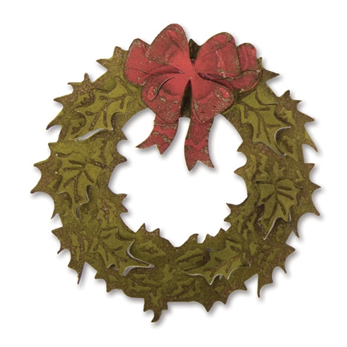RESERVE Tim Holtz Sizzix LAYERED HOLIDAY WREATH Bigz Die With Texture Fades 662169 Preview Image