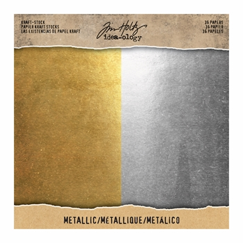 Tim Holtz Idea-ology 8 x 8 Paper Stash METALLIC KRAFT STOCK Paperie TH93586