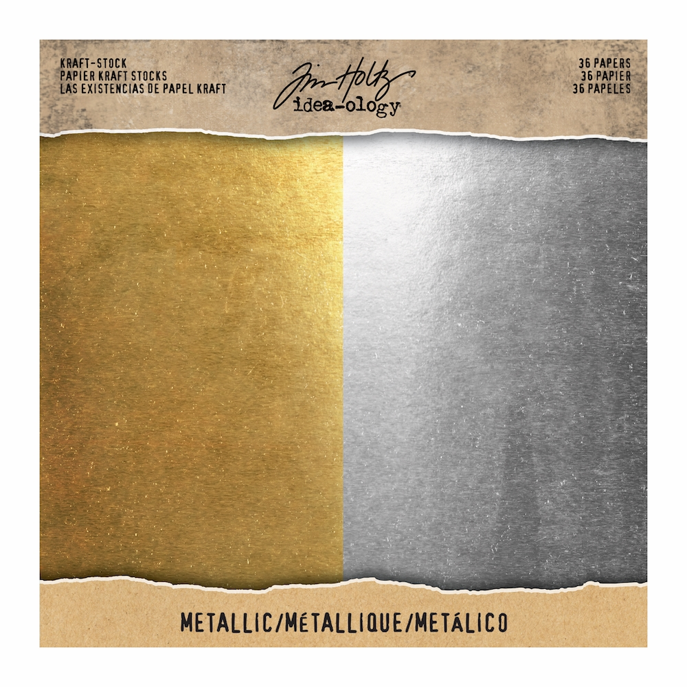 Tim Holtz Idea-ology 8 x 8 Paper Stash METALLIC KRAFT STOCK Paperie TH93586 zoom image