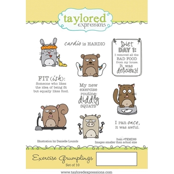 Taylored Expressions EXERCISE GRUMPLINGS Cling Stamp Set TEMD99