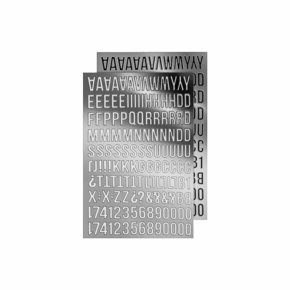 Tim Holtz Idea-ology SILVER ALPHA Metallic Stickers Paperie TH93561 zoom image
