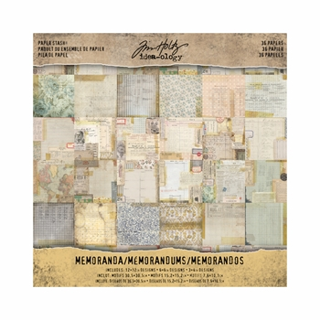 Tim Holtz Idea-ology 12 x 12 Paper Stash MEMORANDA Paperie TH93550