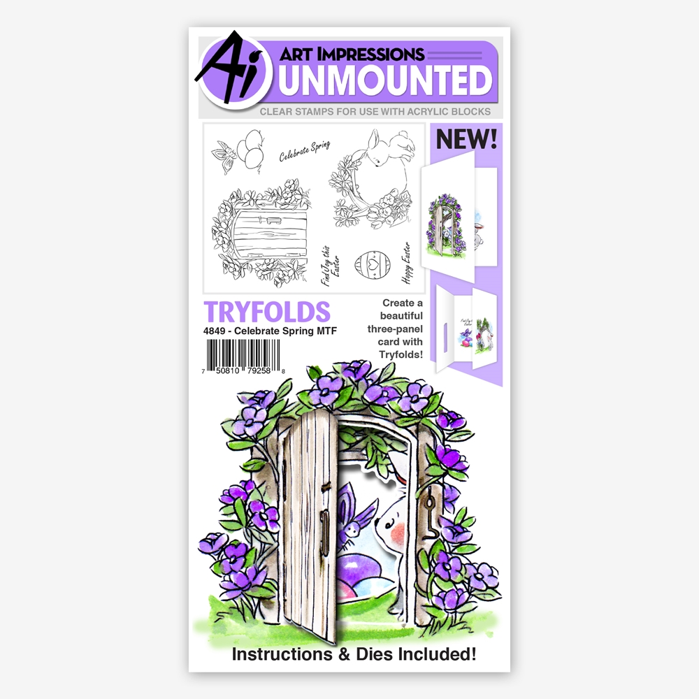 Art Impressions CELEBRATE SPRING Tryfolds Clear Stamps 4849 zoom image
