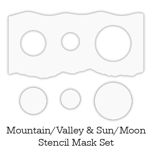 Inkylicious MOUNTAIN VALLEY SUN AND MOON Stencil Set 829468 zoom image