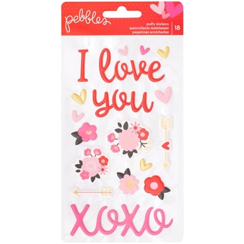 Pebbles Inc. ICONS AND WORDS Puffy Stickers My Funny Valentine 733278