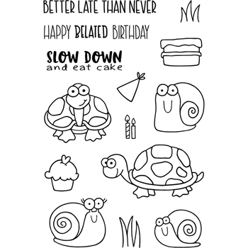 Jane's Doodles BELATED BIRTHDAY Clear Stamp Set 743023