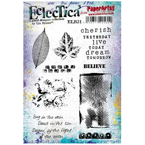 Paper Artsy ECLECTICA3 LIN BROWN 31 Rubber Cling Stamp ELB31 Preview Image