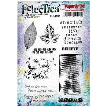 Paper Artsy ECLECTICA3 LIN BROWN 31 Rubber Cling Stamp ELB31