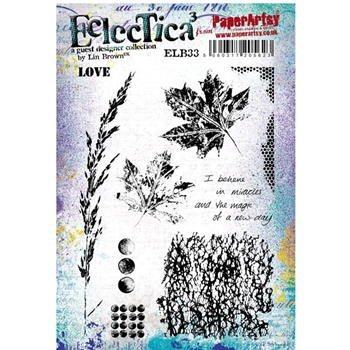 Paper Artsy ECLECTICA3 LIN BROWN 33 Rubber Cling Stamp ELB33