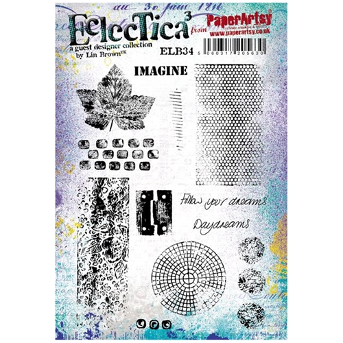 Paper Artsy ECLECTICA3 LIN BROWN 34 Rubber Cling Stamp ELB34 Preview Image