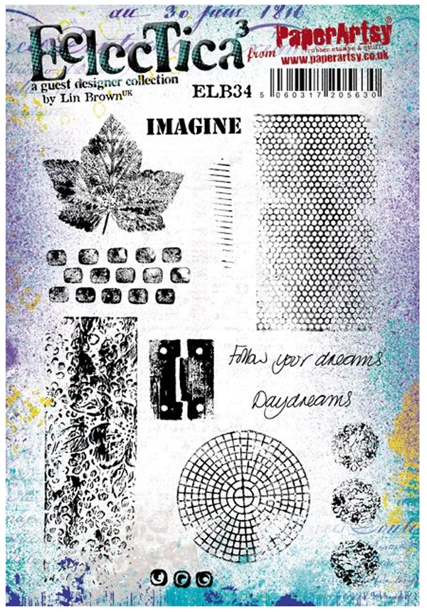 Paper Artsy ECLECTICA3 LIN BROWN 34 Rubber Cling Stamp ELB34 zoom image