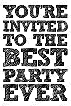 Impression Obsession Cling Stamp BEST PARTY EVER D14590