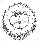 Impression Obsession Cling Stamp KITTY CIRCLE C19356
