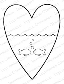 Impression Obsession Cling Stamp FISHY LOVE H20198