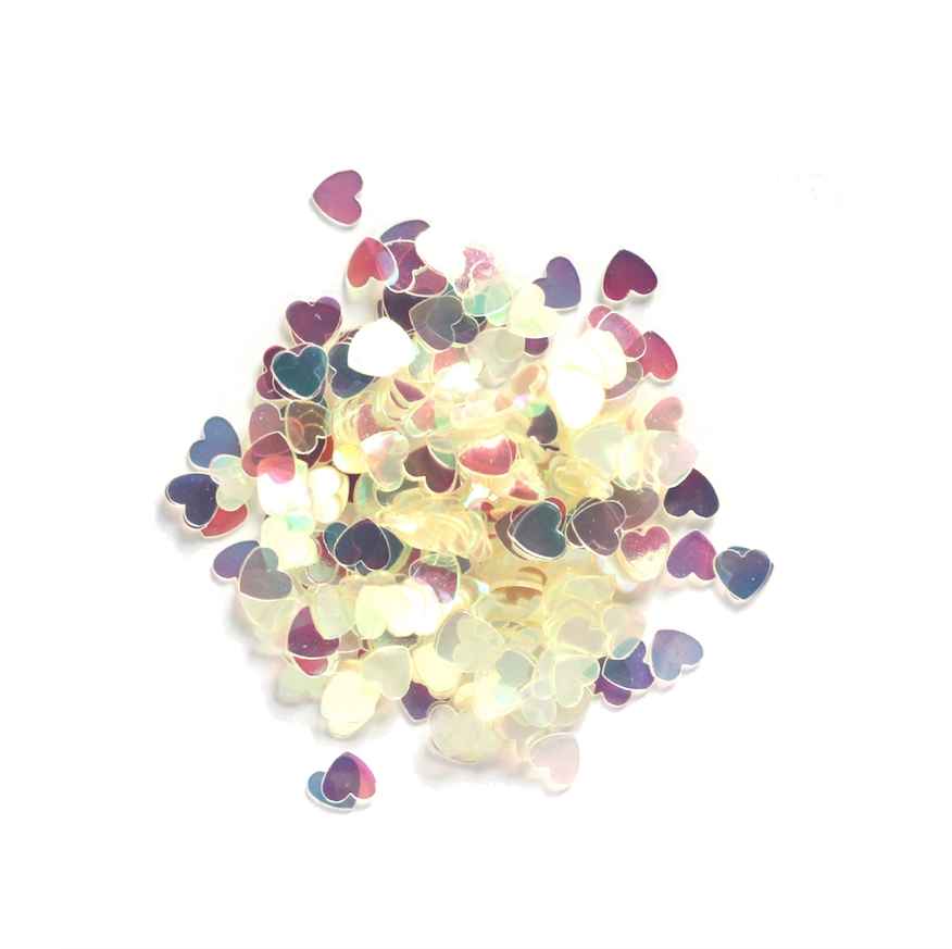 Darice 6mm Heart Shaped IRIDESCENT CONFETTI 163048 zoom image