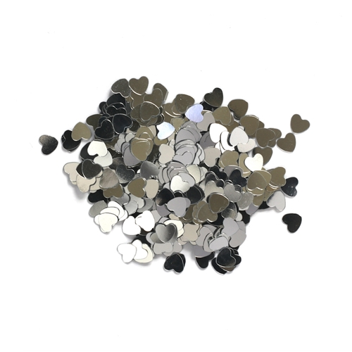 Darice 6mm Heart Shaped SILVER CONFETTI 163047 Preview Image