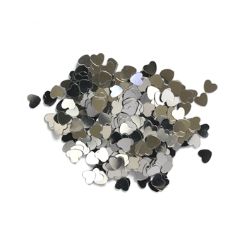 Darice 6mm Heart Shaped SILVER CONFETTI 163047