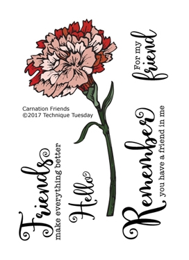 Technique Tuesday CARNATION FRIENDS Greenhouse Society Clear Stamps 02389 zoom image