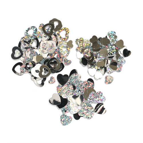 Darice Confetti Pack SILVER HEARTS 30000786 Preview Image