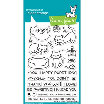 RESERVE Lawn Fawn MEOW YOU DOIN' Clear Stamps LF1315