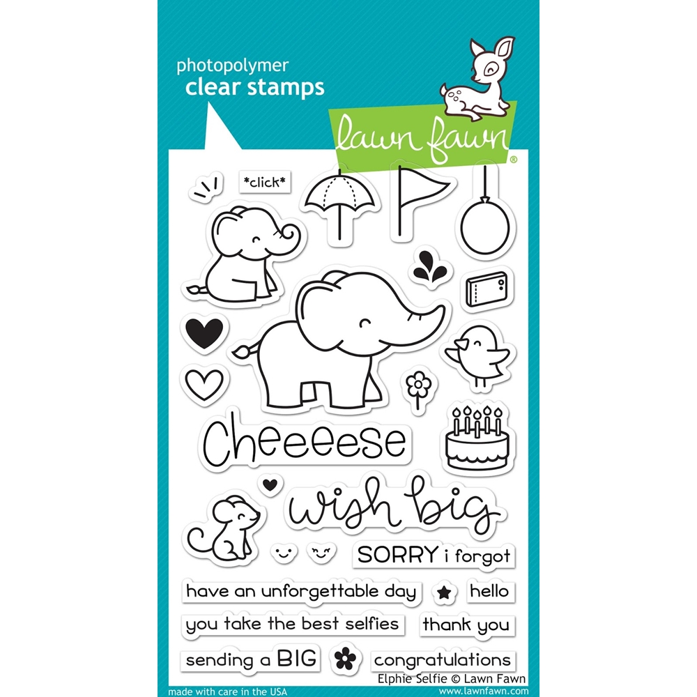 Lawn Fawn ELPHIE SELFIE Clear Stamps