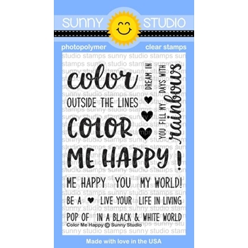 Sunny Studio COLOR ME HAPPY Clear Stamp Set SSCL151